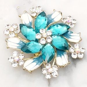 Jewelry - Enamel Floral Brooch with Rhinestone Accents